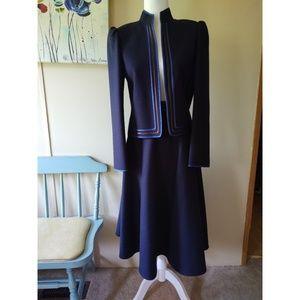 Vintage Louis Feraud Navy & Brown Jacket & Skirt